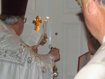 Knocking with the censer   on the Church Door.